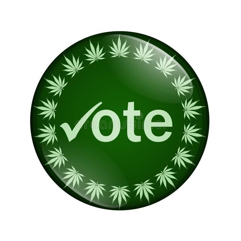 Vote para legalizar el botón de la marijuana libre illustration