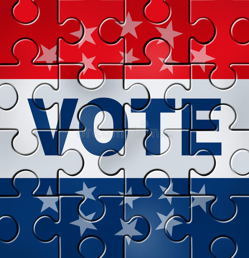 Vote And Political Organisation. Vote in a political campaign concept with a graphic element icon of voting as a jigsaw puzzle that is complete representing vector illustration