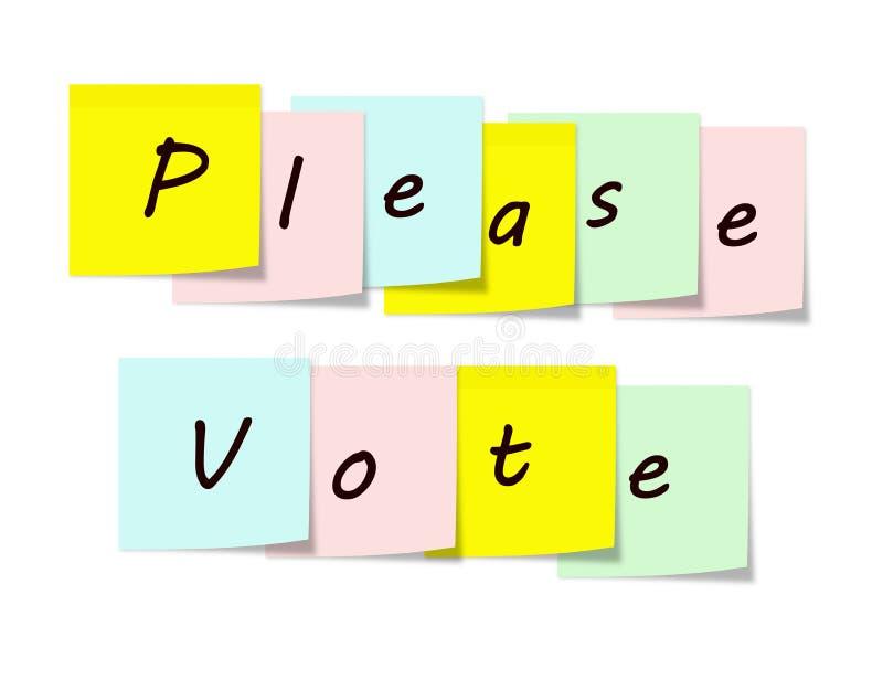 Vote por favor las notas pegajosas stock de ilustración