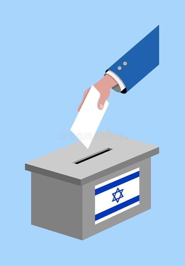 Vote pour l'élection de l'Israël avec la boîte de vote et le drapeau israélien illustration libre de droits