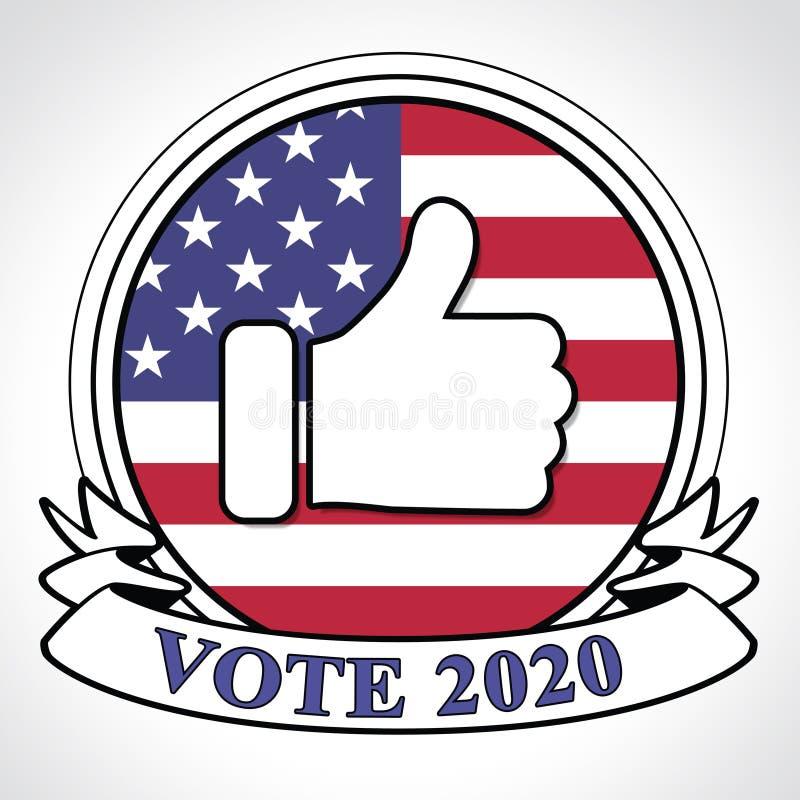 Vote présidentiel des 2020 Etats-Unis d'élections pour des candidats - 2d illustration illustration de vecteur