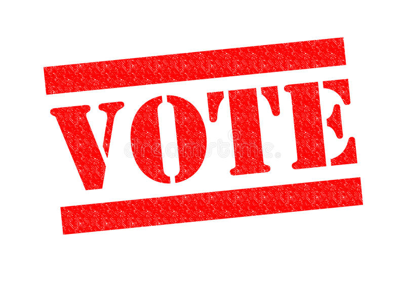 VOTE. Red Rubber Stamp over a white background stock photos
