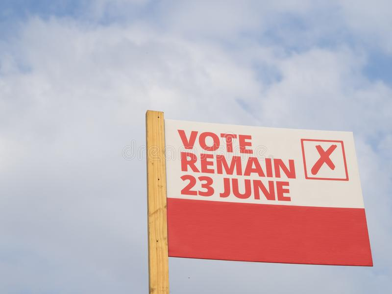 Vote Remain on 23 June 2016 in the EU referendum in the UK sign. A sign to Vote Remain on 23 June 2016 in the EU referendum in the UK which resulted in Brexit stock photography