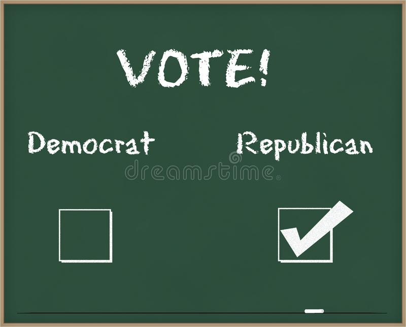 Vote Republican. Written on a chalk board stock photos