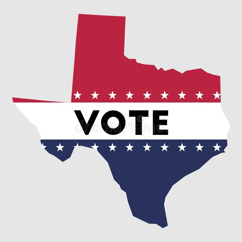 Vote Texas state map outline. Patriotic design element to encourage voting in presidential election 2016. Vote Texas vector illustration royalty free illustration