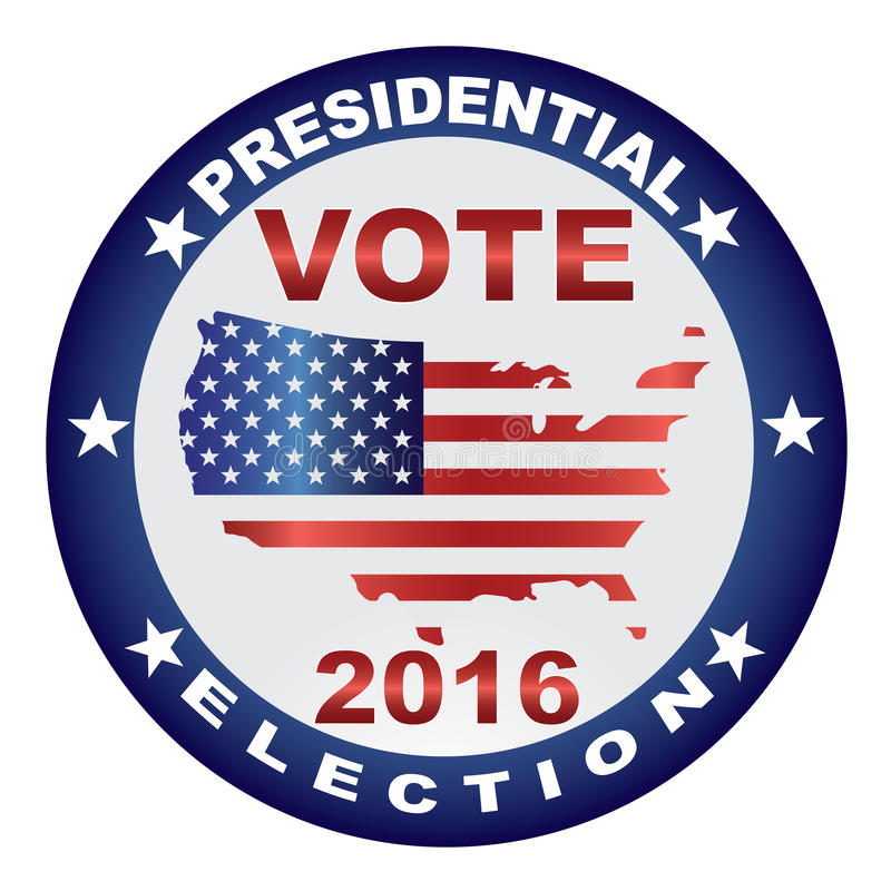 Vote 2016 USA Presidential Election Button Illustration. Vote Presidential Election 2016 with USA Flag in Map Silhouette Button Illustration royalty free illustration