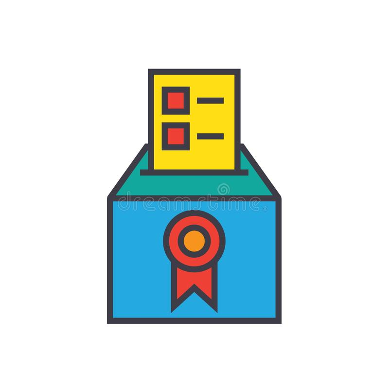 Vote, voting, elections, poll flat line illustration, concept vector isolated icon royalty free illustration