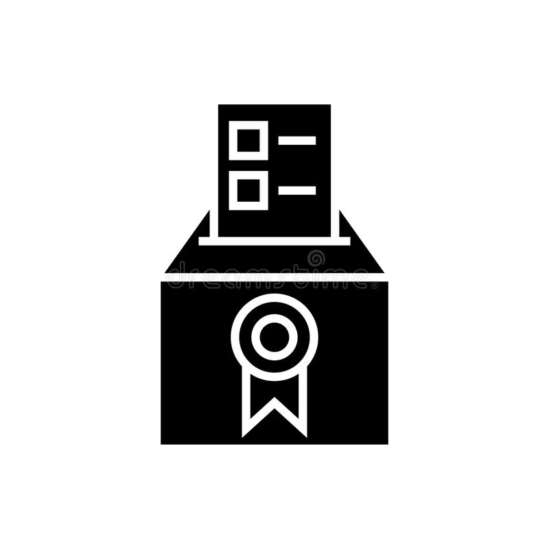 Vote - voting - elections - poll icon, vector illustration, black sign on isolated background stock illustration