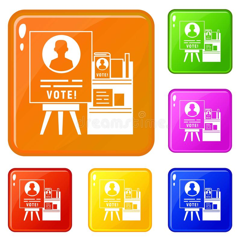 Vote wood stand icons set vector color stock illustration