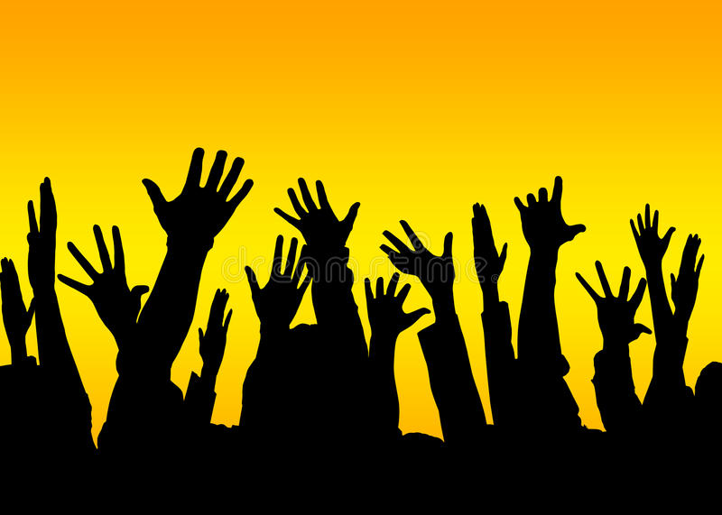 Vote yes. Silhouette of raised hands to represent concepts such as volunteers, democracy, freedom, voting or as a banner or header with copyspace