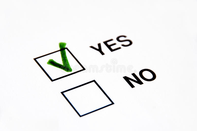 Vote yes. A green tick on yes box vote