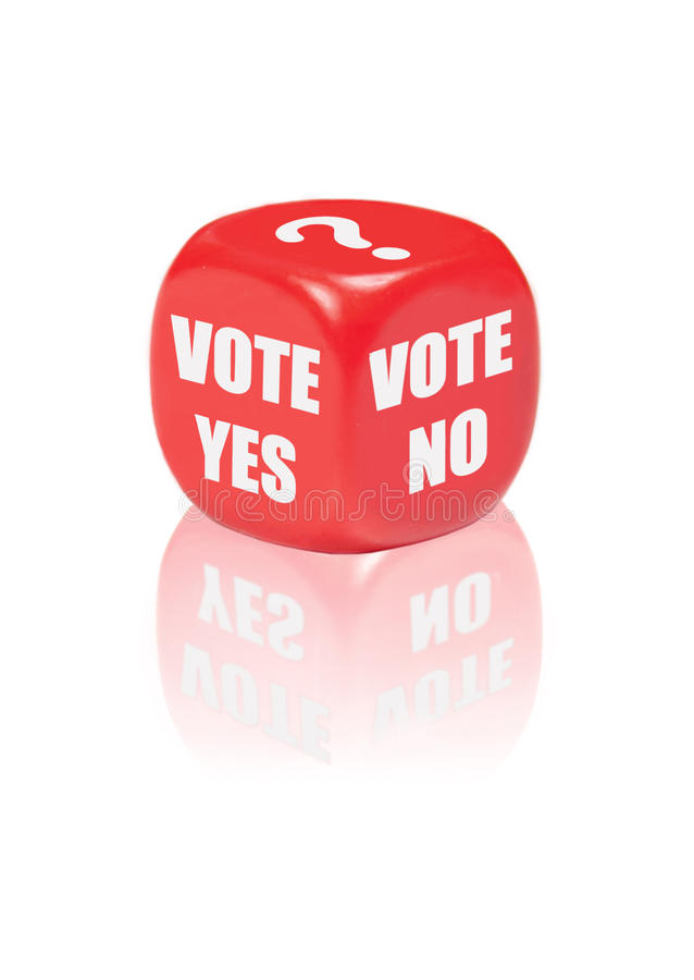 Vote yes no. Dice with different outcomes for voting including a question mark royalty free stock photo