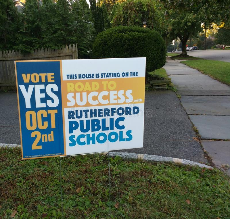 Vote Yes, School Referendum, Rutherford, NJ, USA. On October 2nd 2018 Rutherford residents will vote in a referendum regarding school funding. This lawn sign royalty free stock photos