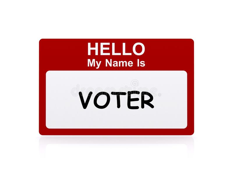 Voter Name Tag. A name tag stating that the person is a voter vector illustration