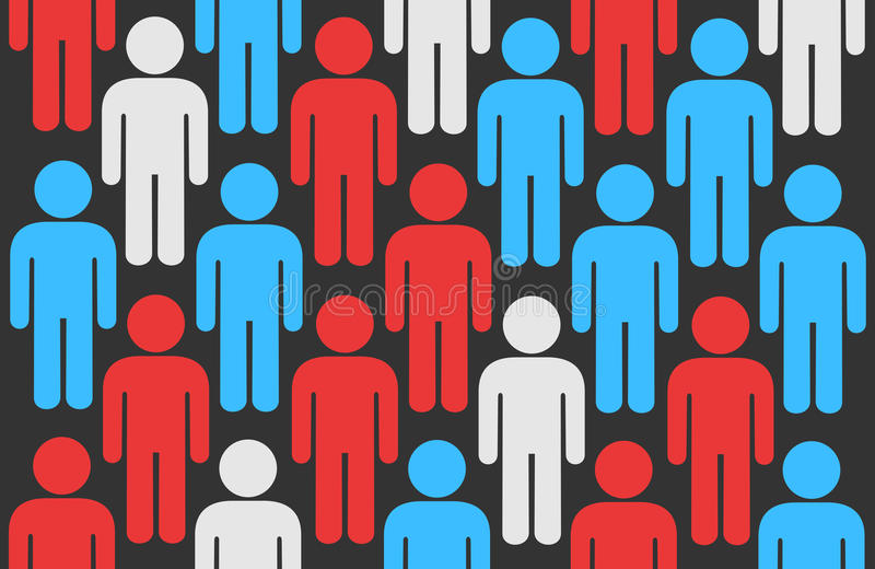 Voters and electors. Crowd of icons of men s metaphor of electors during elections, pre-election surveys and opinion poll. Colors symbolize opposition and royalty free illustration