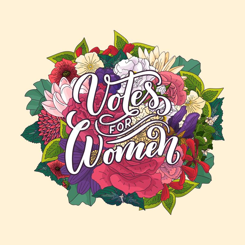 Votes for woman - quote lettering. Calligraphy inspiration graphic design typography element. Hand written postcard. Vector, hand. Votes for woman - quote royalty free stock photography