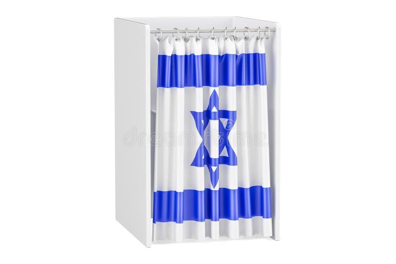 Votez dans le concept de l'Israël, cabine de vote avec le drapeau israélien, le rende 3D illustration de vecteur