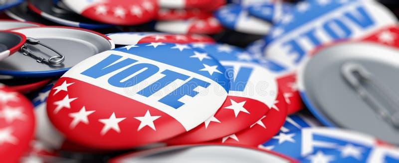 Votez l'élection sur une illustration blanche du fond 3D, le rendu 3D illustration stock