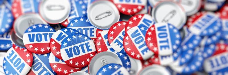 Votez l'élection sur une illustration blanche du fond 3D, le rendu 3D illustration libre de droits
