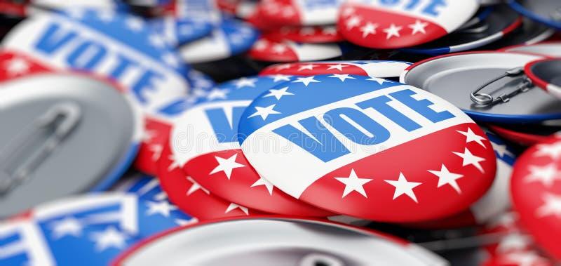 Votez l'élection sur une illustration blanche du fond 3D, le rendu 3D illustration de vecteur