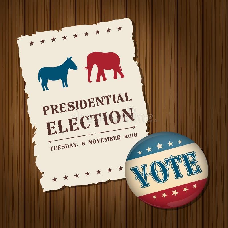 Votez le bouton d'insigne avec le pair politique de symboles d'âne et d'éléphant illustration libre de droits