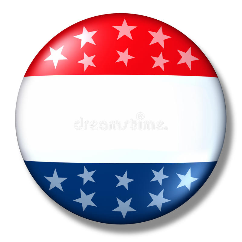 Voti l'elezione patriottica isolata in bianco del distintivo royalty illustrazione gratis