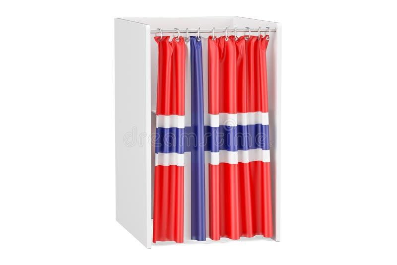 Voti nel concetto della Norvegia, cabina di voto con la bandiera norvegese, 3D ren illustrazione vettoriale