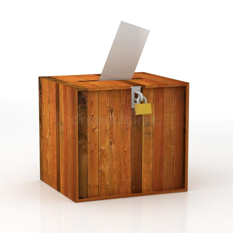 Voting. A man's hand putting an envelope in the slot of a box stock illustration