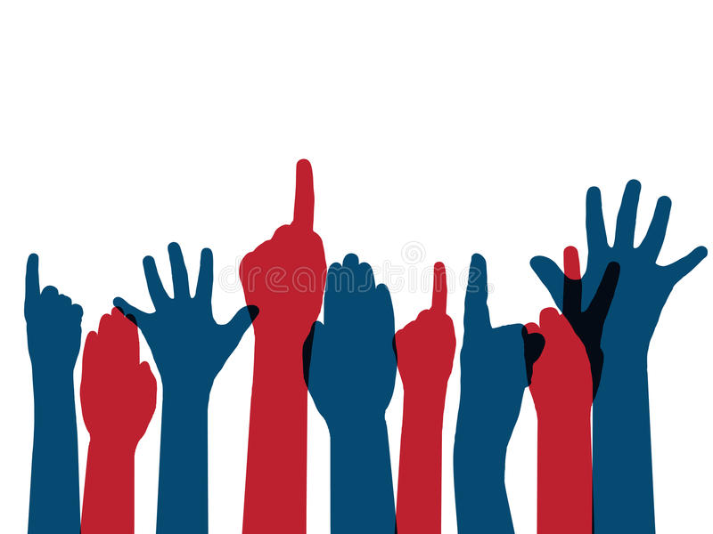 Voting arms. In american flag colors stock illustration