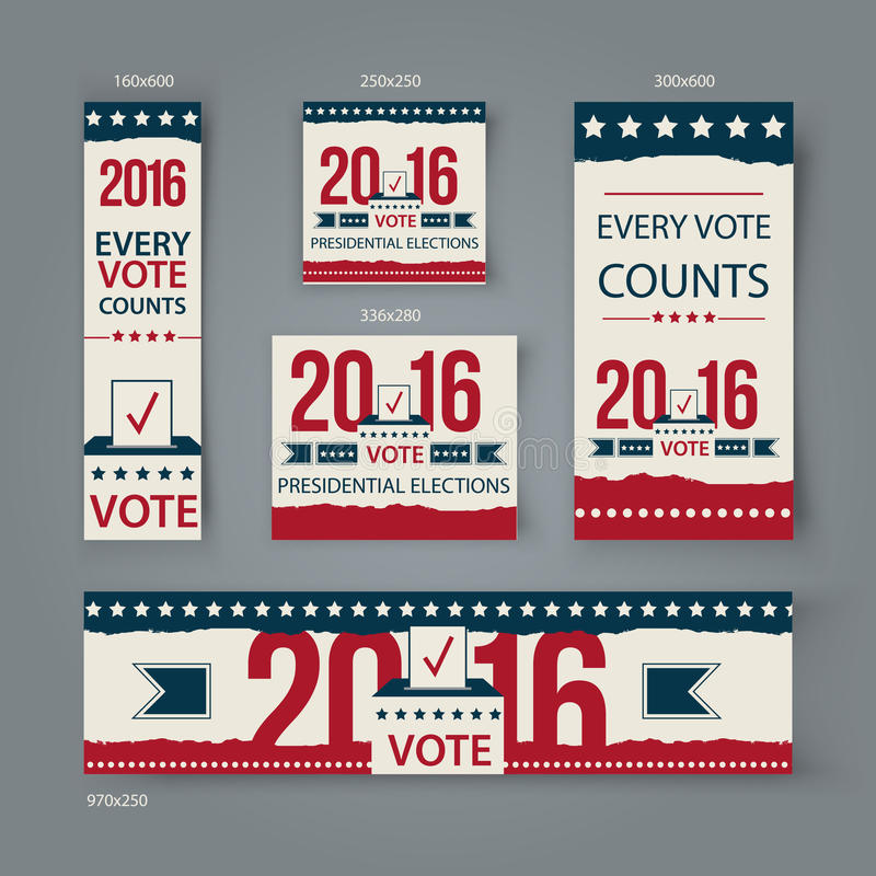 Voting Banners vector set design. US presidential election in 2016. Vote 2016 USA banners for website or social media. Cover stock illustration