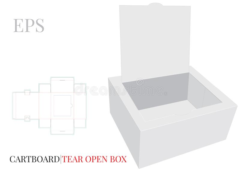 Tear Open Box Template with die cut lines. Vector with die cut / laser cut layers. White, blank, isolated Open Paper Box mock up royalty free illustration
