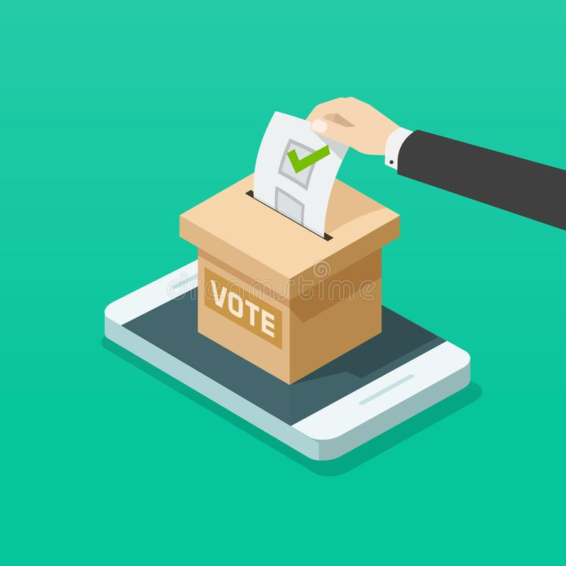 Voting box online on mobile phone vector illustration, flat isometric voter hand on smartphone internet election. Voting box online on mobile phone vector vector illustration