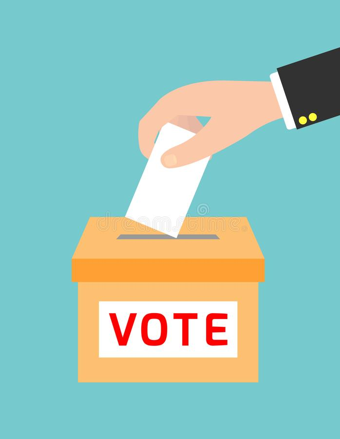 Voting concept in flat style,hand putting paper in the ballot box, vector illustration royalty free illustration