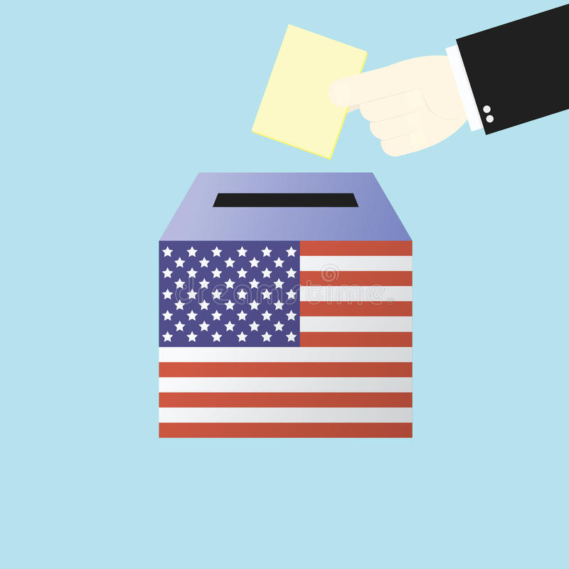 Voting concept by Hand putting paper in the ballot box USA vector illustration
