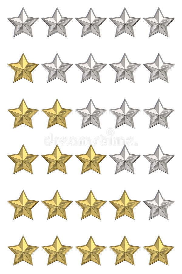 Voting concept. Rating five stars. Set of 3D render. Illustrations isolated on white background stock photo