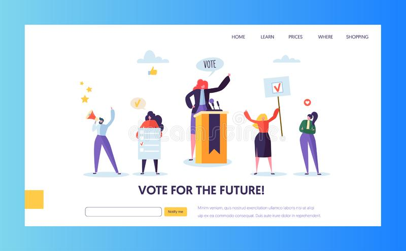 Voting Elections Landing Page Template. People vector illustration
