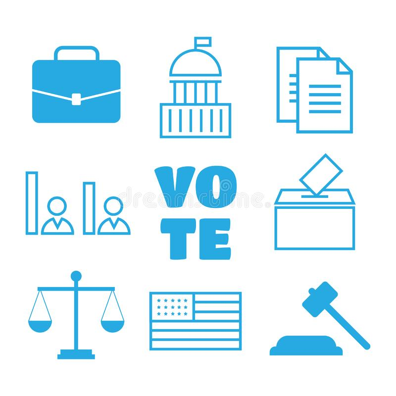 Voting and elections linear icons. Political icons set.Voting an stock illustration