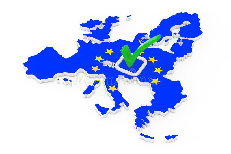 Voting in European Union Concept. Voting Green Check Mark Icon over Shape of European Union Map with Flag. 3d Rendering vector illustration