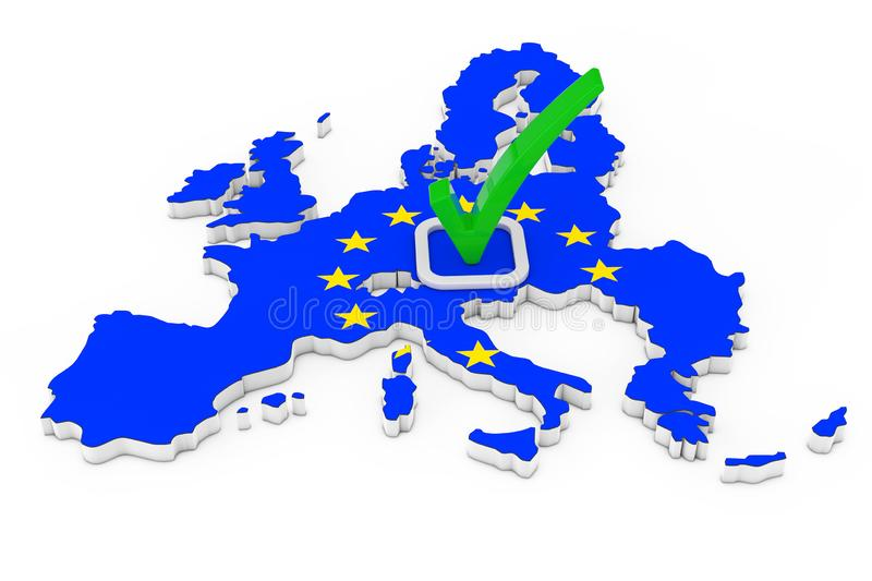 Voting in European Union Concept. Voting Green Check Mark Icon over Shape of European Union Map with Flag. 3d Rendering stock illustration