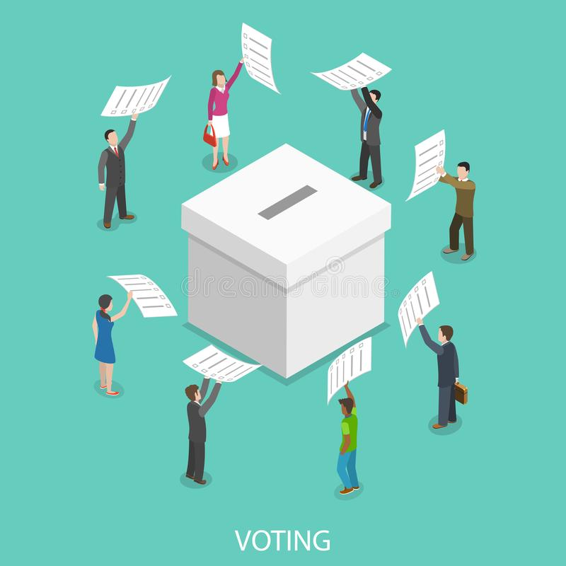 Voting flat isometric vector concept. People are putting their ballot papers into the big paper voting box royalty free illustration