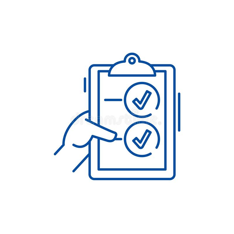 Voting line icon concept. Voting flat  vector symbol, sign, outline illustration. royalty free illustration