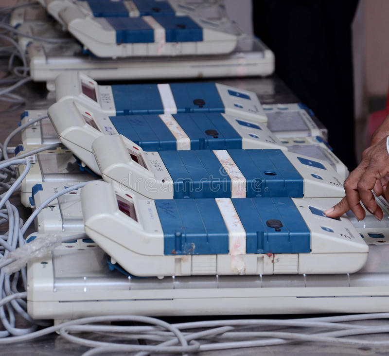 VOTING MECHINE. A view of a electronic voting machine. Electronic Voting Machines (EVM) are being used in Indian election. The EVMs reduce the time in both royalty free stock photo