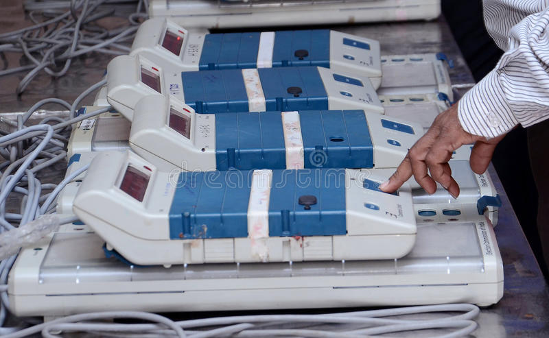 VOTING MECHINE. A view of a electronic voting machine. Electronic Voting Machines (EVM) are being used in Indian election. The EVMs reduce the time in both royalty free stock photos