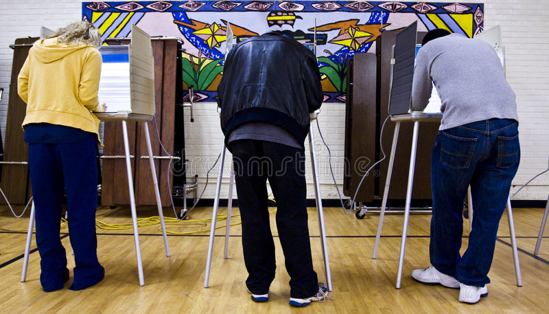 Voting at polling station