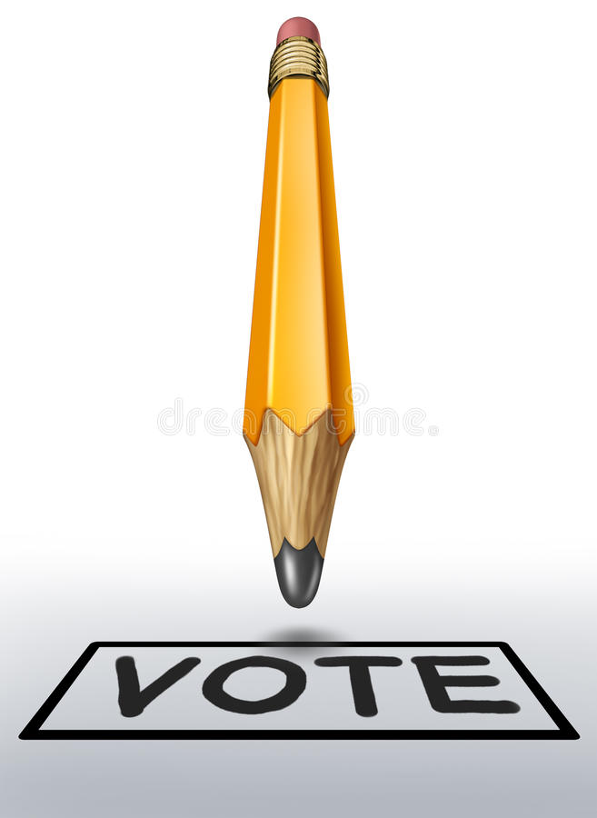 Voting symbol with yellow pencil