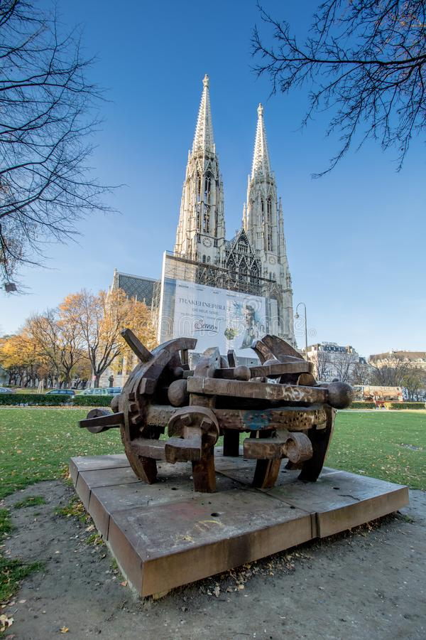 Votiv kościół w Sigmund Freud parku w Wiedeń, Austria obrazy royalty free