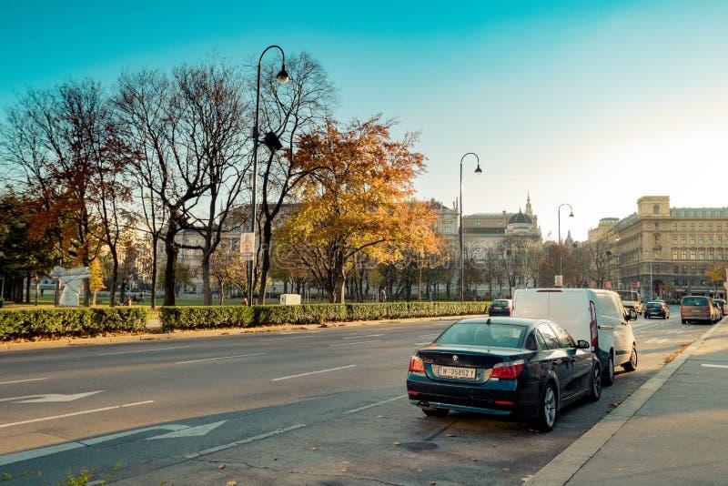 Votiv kościół w Sigmund Freud parku w Wiedeń, Austria zdjęcia royalty free