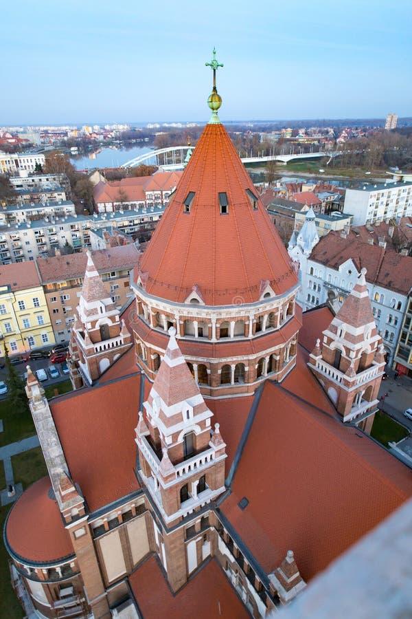 Votive εκκλησία Ουγγαρία Szeged Άποψη από τη στέγη στοκ εικόνες με δικαίωμα ελεύθερης χρήσης