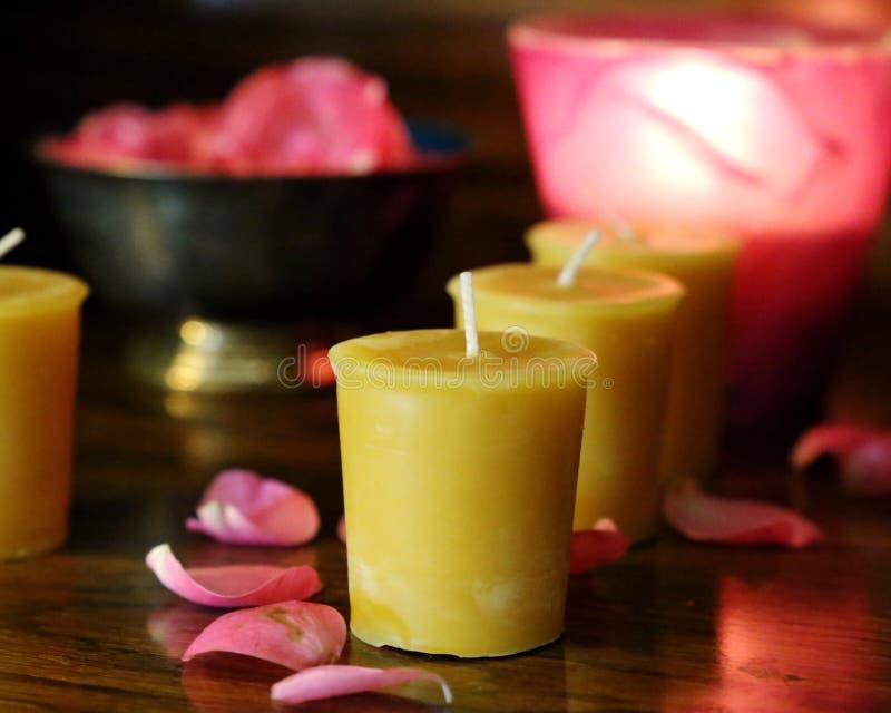 Votive κεριά και λουλούδια μελισσοκηρού στοκ φωτογραφία με δικαίωμα ελεύθερης χρήσης