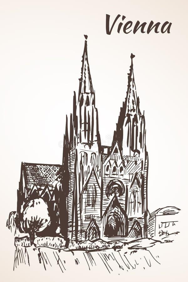Votive Kirche, Wien lizenzfreie abbildung